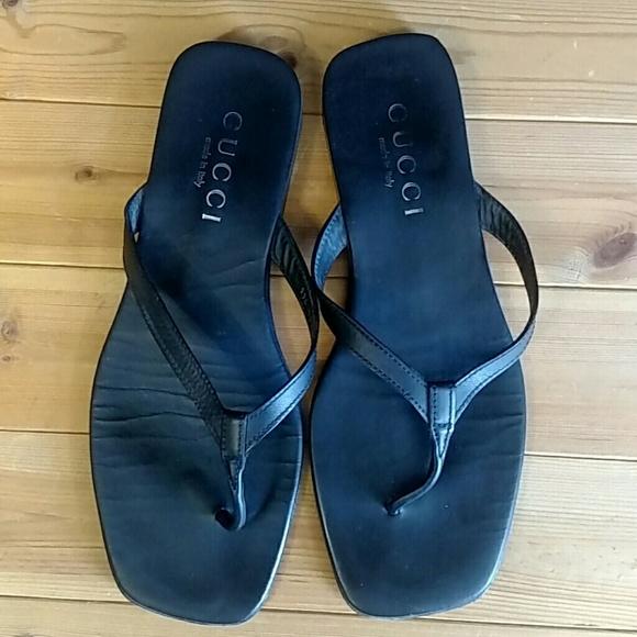 Gucci Sandals black leather Size 11D